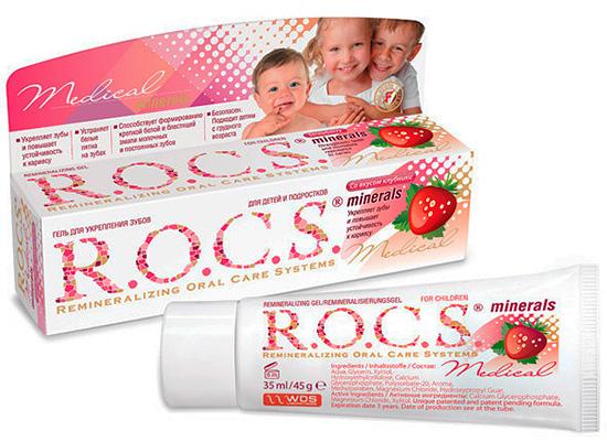 Есть специальный реминерализующий гель для восстановления эмали зуба ROCS Medical Minerals для детей.