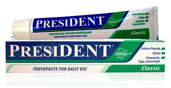 Еще одна зубная паста с содержанием фтора President Classic
