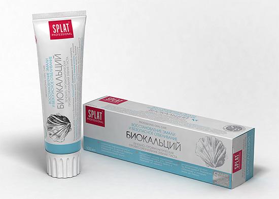 Паста Splat Биокальций хорошо подходит для реминерализации (восстановления) зубной эмали.