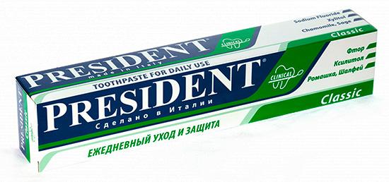 Зубная паста President Classic подходит для ежедневного применения с целью профилактики развития кариеса.