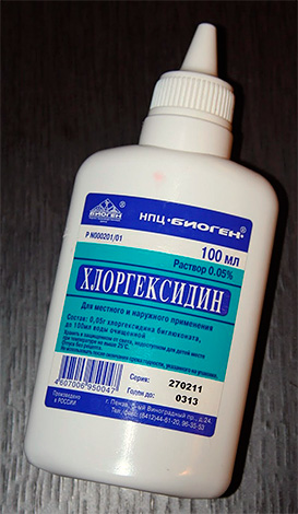 Для уменьшения боли в десне и ее антисептирования может быть использован раствор хлоргексидина.