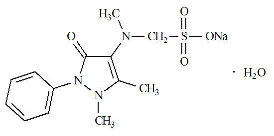 Действующее вещество анальгина - метамизол натрия (химическая формула)