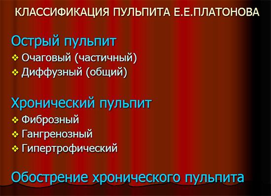Классификация пульпитов по Е. Е. Платонову