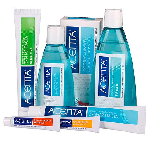 В серию Асепта входят не только зубные пасты, но также бальзамы для десен, ополаскиватели для рта, специальные салфетки и даже витамины.