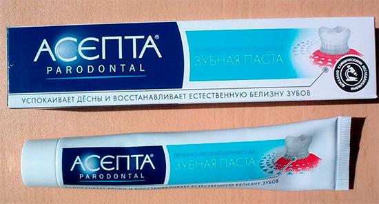 На фото показана зубная паста Асепта...