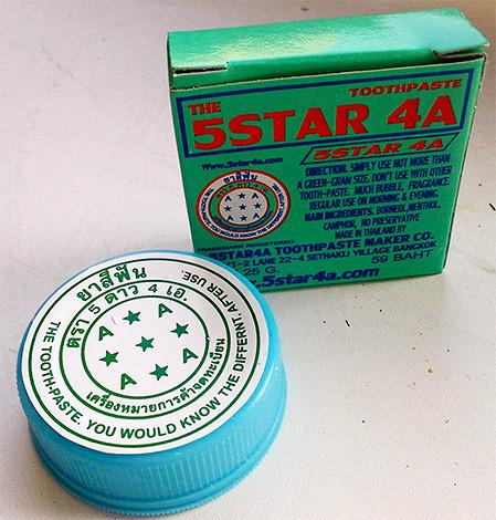 На фото показан пример еще одной популярной зубной пасты из Тайланда - The 5 Star.