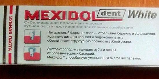 Мексидол Дент Вайт позиционируется как отбеливающая профилактическая зубная паста противовоспалительного действия.