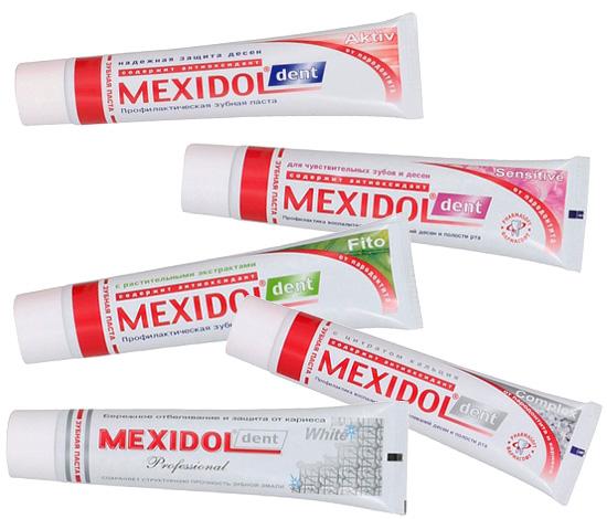 Под брендом Мексидол Дент выпускается пять разных зубных паст.