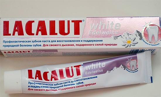 Зубная паста Lacalute White Edelweiss с экстрактом эдельвейса.