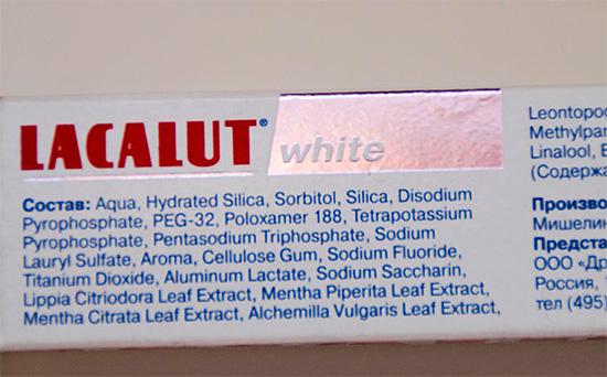 Рассмотрим особенности состава зубной пасты Лакалют Вайт...