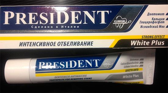 А вот Президент White Plus весьма интенсивно отбеливает зубы за счет высокой абразивности, поэтому она не предназначена для ежедневного применения.