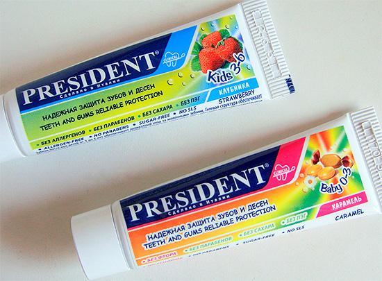 Пример детских зубных паст Президент для малышей от 0 до 3 лет и от 3 до 6 годиков.