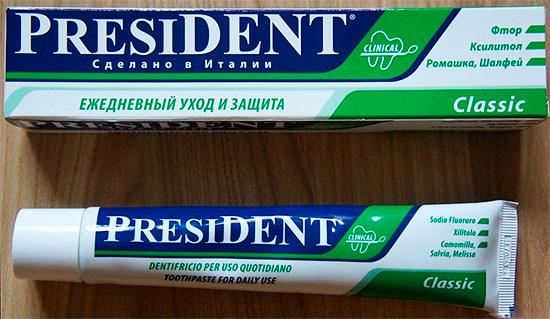 На фотографии показана зубная паста President Classic
