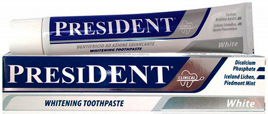 Паста для бережного отбеливания зубов President White