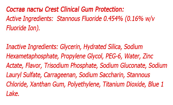 Состав пасты Crest Pro-Health Clinical Gum Protection