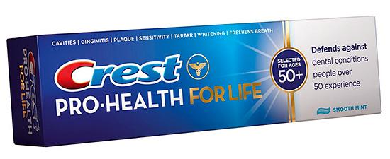 Зубная паста Крест для пожилых людей (старше 50 лет).