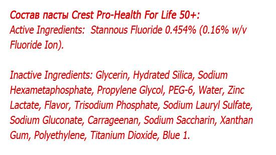 Состав зубной пасты Crest Pro-Health For Life 50+