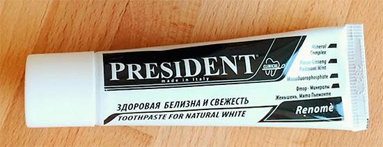 Отбеливающая зубная паста President Renome.