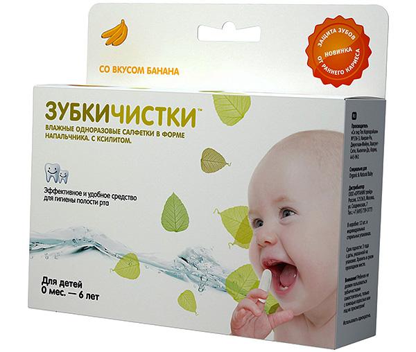 Влажные одноразовые салфетки в форме напальчника для протирания зубов и десен у детей.